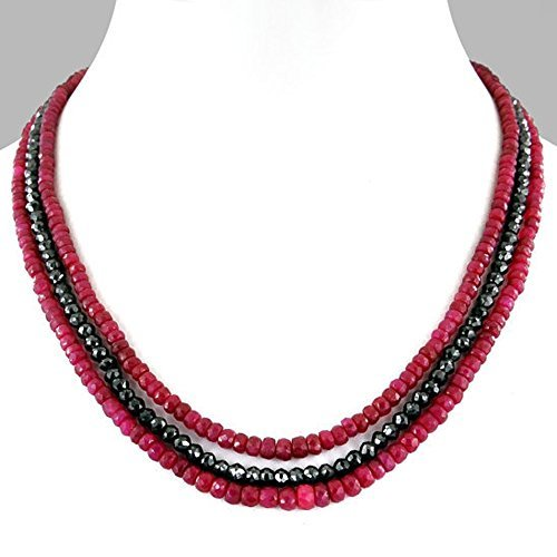 Barishh Ruby and black diamond beads necklace 3-4 mm Beautiful.Certified by Barishh