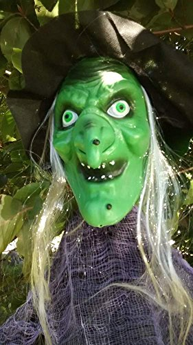 [Halloween Prop 7 FT Scary GREEN WITCH Indoor Outdoor Hanging Poseable Arms] (Hanging Halloween Props)