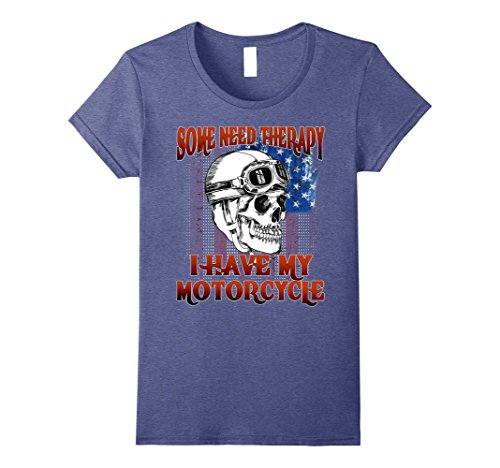 Womens Biker Shirt some need therapy, i need my motorcycle shirts XL Heather Blue