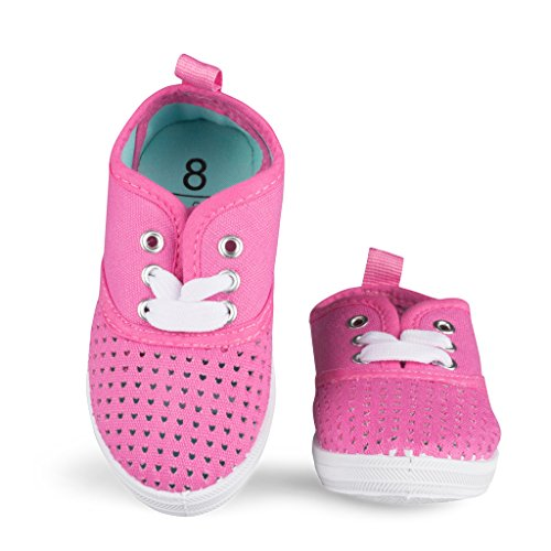 [SBK104-PINK-T7] Girls Canvas Sneakers: Lace-Up Tennis Shoes, Toddler Size 7 (That 70s Show Outfits)