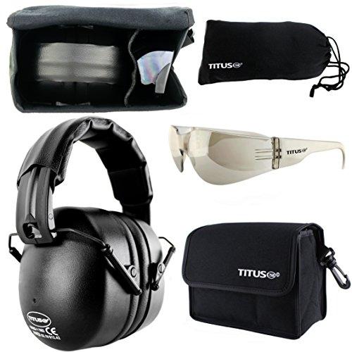 Ip Tint (TITUS Earmuff/Glasses Combo – Onyx Black (37NRR) Muffs & G Series Safety Glasses - Ear+Eye Protection Bundle - (Standard, G8 Light Mirror Smoke Tint - Full Shield)
