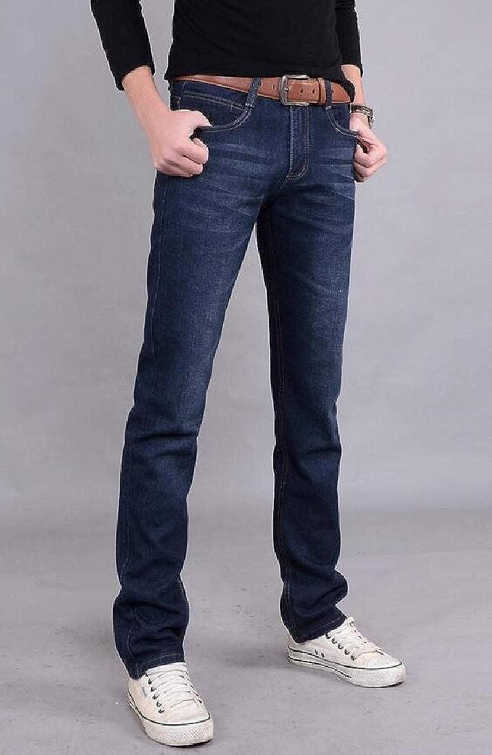 KXP Mens Straight-Leg Trousers Zipper Jean Denim Pants