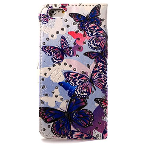 Stand Feature Iphone 6 Wallet Case 2015 New Iphone 6 Iphone 6s 4.7 Inch Case Fashion Colorful Many Butterfly Pattern Iphone 6 Filp Cover with Credit Card Id Holders