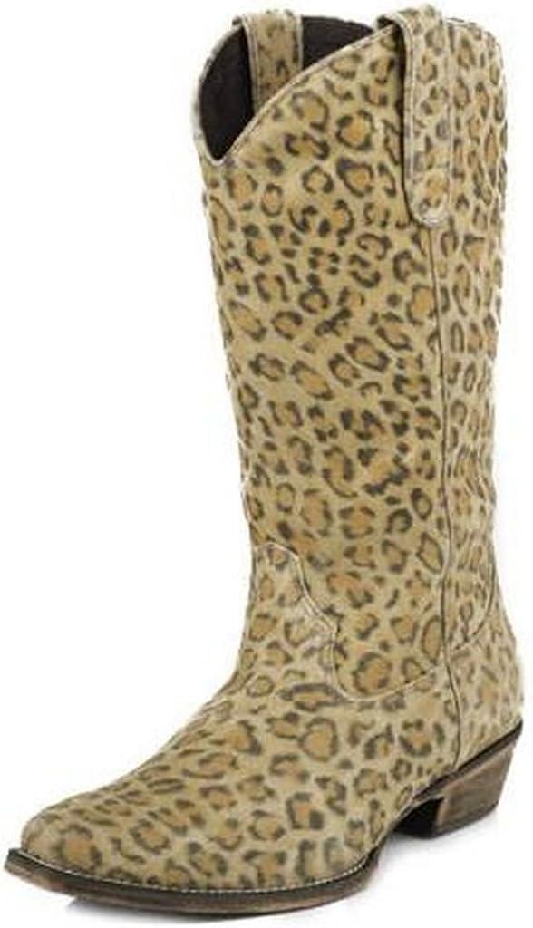 ROPER Womens Western 13 Inch Leopard Tan Boots