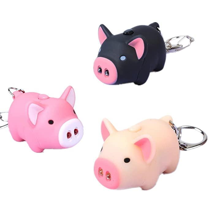 Y&Y Star 3pcs/lot Cartoon Oink Piggy Light & Sound Keychains Pink, Beige, Black Little Piggy Design Led Keychain Flashlight (3pcs)