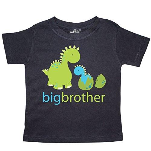 inktastic - Happy Dinosaur New Big Brother Toddler T-Shirt 4T Black - Little Brother Dinosaur
