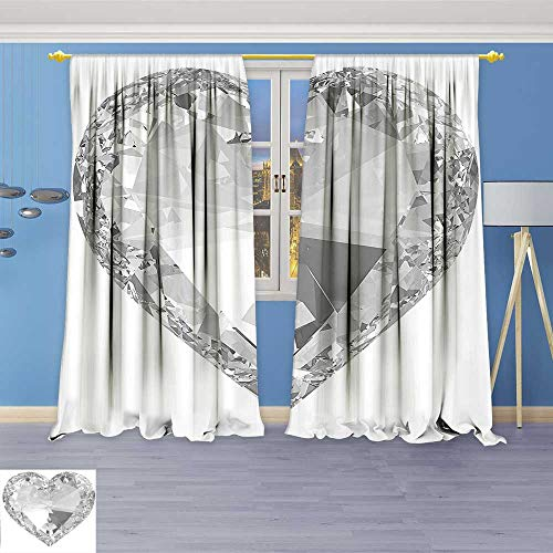 Astoria Crystal Clear (Philiphome Room Darkening Blackout Print Curtains –Big Diamonds Precious Gems Stones Heart Rock Romance Love Crystal Design Gray and for Bedroom Living Room)