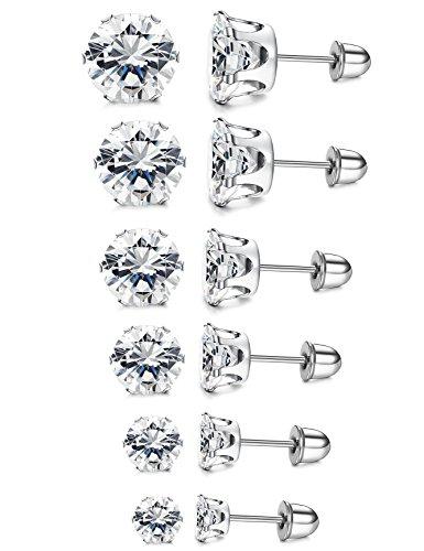 LOYALLOOK 6 Pairs Stainless Steel Clear Cubic Zirconia Stud Earring Ear Piercings For Women Girls 3-8mm - Kid Earring Screw