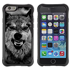 LASTONE PHONE CASE / Suave Silicona Caso Carcasa de Caucho Funda para Apple Iphone 6 / wolf ferocious muzzle teeth roar black