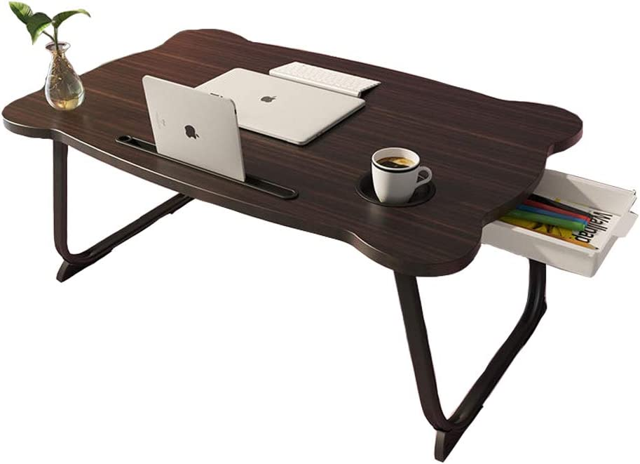 MJUNM Laptop Desk, Lap Desk Bed Table Tray for Eating Writing Foldable Desk with iPad Slots for Adults/Students/Kids, Adjustable Notebook Stand with Drawer, Card Slot and Cup Holder, Black
