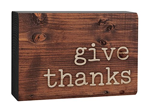 P. GRAHAM DUNN Give Thanks Typewriter Design Brown Woodgrain 4 x 5 Inch Solid Pine Wood Barnhouse Block Sign (Thanks Give Blocks)