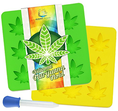 - Marijuana Mold Silicone 2 PACK with BONUS DROPPER ~ Non-BPA LFGB & FDA Pot Leaf Gummy & Candy Molds - Perfect Size for Party Gummies Cupcake Toppers Ice Soap Chocolate Cookies Butter & Novelty Gifts