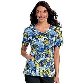 Amazon.com: Landau Women's Rounded V-Neck Geometric Print ...