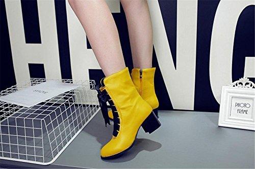 6 Rough Tobillo 5 Mujeres Cabeza Otoño Botas Yellow uk Martín 6 Zapatos Heel Redonda 39 Nvxie Eur eur36uk354 Invierno Negro Tamaño Cuero qTH5zwPdx