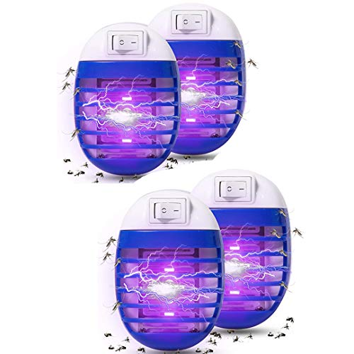 (Maxtry 4 Pack Plug in Electronic Insect Killer Bug Zapper Mosquito Lure Lamp Pest Control Eliminates Flying Pests Gnat Trap Indoor with Night Light)