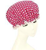 Shintop Waterproof Shower Cap Adult Resizable Double Layer Environmental Bath Hat Chiffon+EVA Rose Dot (Rose)