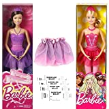 Ballerina Two Barbie Fairytale Barbie Doll in a 6 Piece Bundle with 4 cutout and fill in Pretend Ballet Tickets Great Gift For 3+ year olds Child Dance Fun