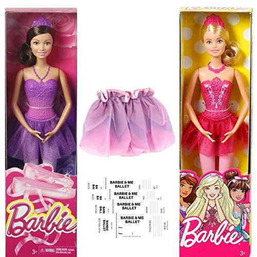 Ballerina Two Barbie Fairytale Barbie Doll in a 6 Piece Bundle with 4 cutout and fill in Pretend Ballet Tickets Great Gift For 3+ year olds Child Dance Fun by Ballerina