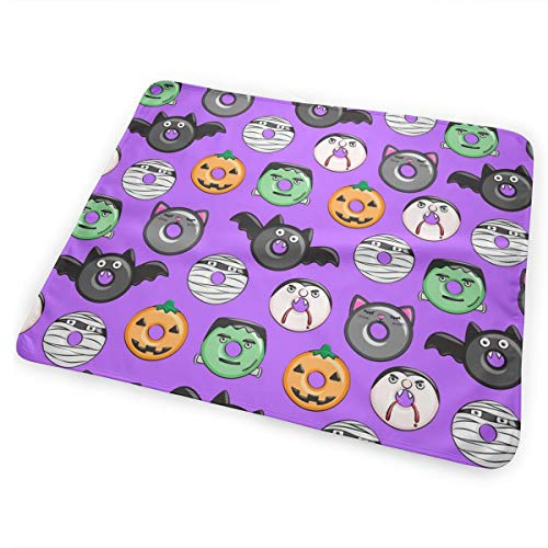 (Halloween Donut Medley - Purple - Monsters Pumpkin Frankenstein Black Cat Dracula C18BS_62486 Baby Bear Baby Portable Reusable Changing Pad Mat 31.5 X 25.5)