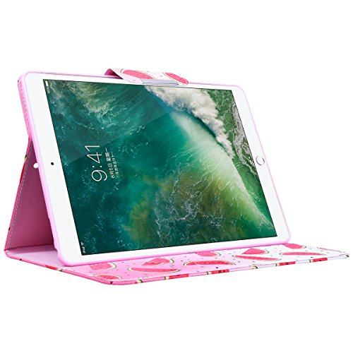 Funda iPad Pro 10.5 WE LOVE CASE Piel y Tipo Cartera Carcasa Funda iPad Pro 10.5 caso de Cuero Original Funda Que Se Pega con Ranura Para Tarjeta Card Holder y Stand Cierre Anti Shock Funda Apple iPa Fruta