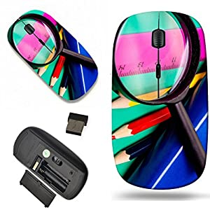 Luxlady Wireless Mouse Travel 2.4G Wireless Mice with USB Receiver, 1000 DPI for notebook, pc, laptop, macdesign IMAGE ID: 22829983 Colorful pencils lens book and ruler on colored paper
