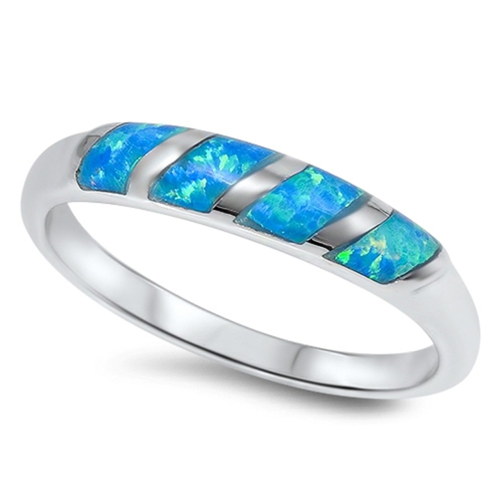 CloseoutWarehouse Twisted Pattern Blue Simulated Opal 925 Sterling Silver Size 5