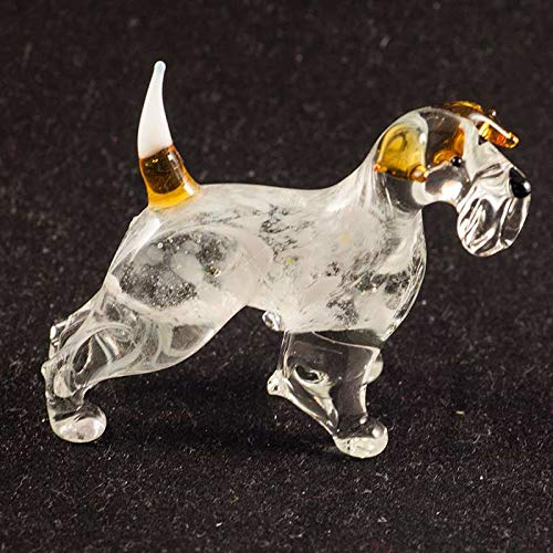 Dog Fox Terrier Small Glass Figurine Hand-Blown Art Collectible Figures