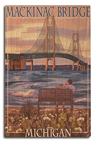 Lantern Press Mackinac, Michigan - Mackinac Bridge and Sunset (10x15 Wood Wall Sign, Wall Decor Ready to Hang)