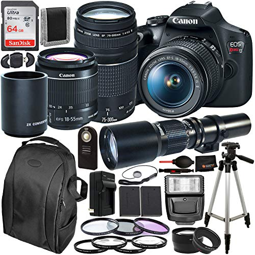 Canon EOS Rebel T7 DSLR Camera with 18-55mm, EF 75-300mm (2727C021 USA) & 500mm Preset with 2X Teleconverter (1000mm) Lens Bundle – Includes: SanDisk Ultra 64GB SDXC Card + 2X Spare Batteries + More