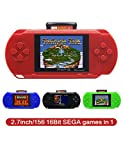 CZT 2.7 Inch 16 Bit SEGA Video Game Console Retro Game Handheld Player Portable Game Console Free 156 SEGA games for Kids gift Rechargeable lithium battery (Red)