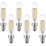 Luxrite Vintage E12 LED Bulb 60W Equivalent, T6 T6.5, 500 Lumens, 2700K (Warm White), Dimmable Candelabra LED Tube Bulbs 5W, Clear Glass, Edison Filament Tubular Light Bulb, UL Listed (6 Pack)