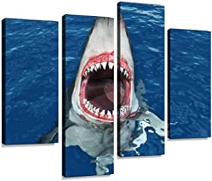 YKing1 Great White Shark Leaping Out of The Water Wall Art Painting Pictures Print On Canvas Stretched & Framed Artworks Modern Hanging Posters Home Decor 4PANEL