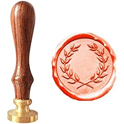 MDLG Vintage Olive Wreath Picture Logo Wedding Invitation Wax Seal Sealing Stamp Rosewood Handle Set