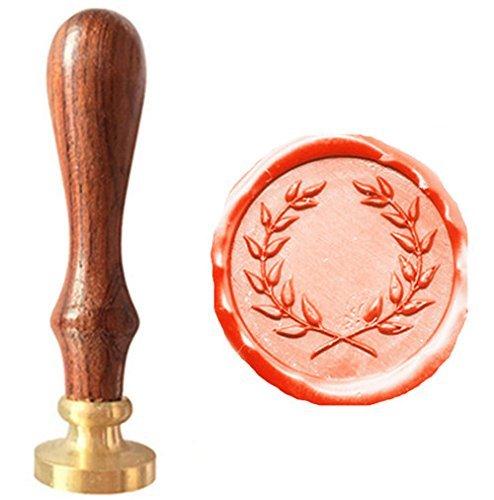 MDLG Vintage Olive Wreath Picture Logo Wedding Invitation Wax Seal Sealing Stamp Rosewood Handle Set ()