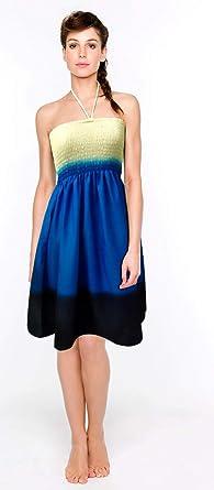 1ceb0acca2c SUNROSE White Blue Black Gradation Stylish Short Backless Smocked Tube Dress