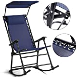 Canopy Solid Wood Folding Chair Folding Rocking Chair Rocker Porch Zero Gravity Patio Furniture W/Canopy Blue with Ebook