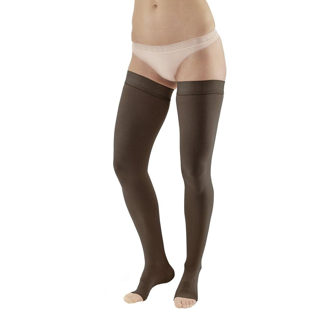 Ames Walker AW Style 292OT Luxury Opaque 20-30 mmHg Firm Compression - Open Toe Thigh High Compression Stockings w Dot Silicone Band Black XXL - Aids Blood Circulation - Unisex