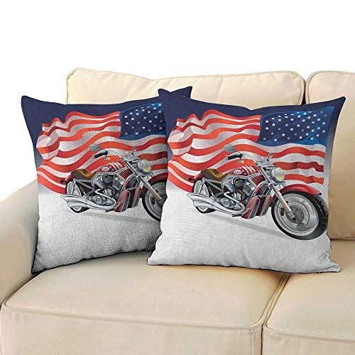 """RenteriaDecor Manly,2pc Set of Pillow Cases Motorbike and US Flag Sports Automobile Shows Motorcyclist Powerful Vehicles Passion 20""""x 20""""x2 Pillowcase Multicolor"""