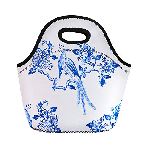 (Semtomn Neoprene Lunch Tote Bag Delft Blue Watercolour Traditional Dutch Floral Paradise Bird Reusable Cooler Bags Insulated Thermal Picnic Handbag for Travel,School,Outdoors,Work)