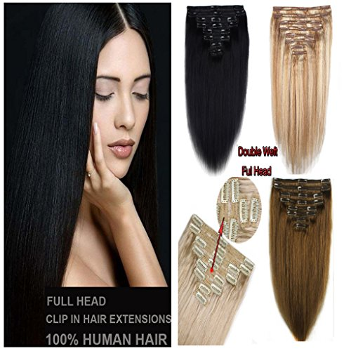 FUT Human Hair Extensions Clip in Hair Extensions Double Weft Clip on Real 8 pieces Full Head 18clips 14