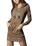 Allegra K Woman Long Sleeve Kangaroo Pocket Leopard Drawstring Hoodie Dress