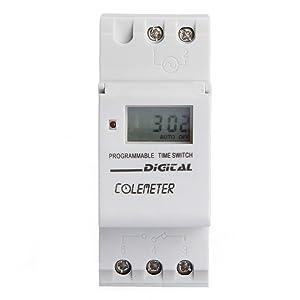 COLOMETER Enchufe Interruptor Temporizador Semanal LCD Riel DIN Digital Program AC 250V 16A Tiempo Cambie relé