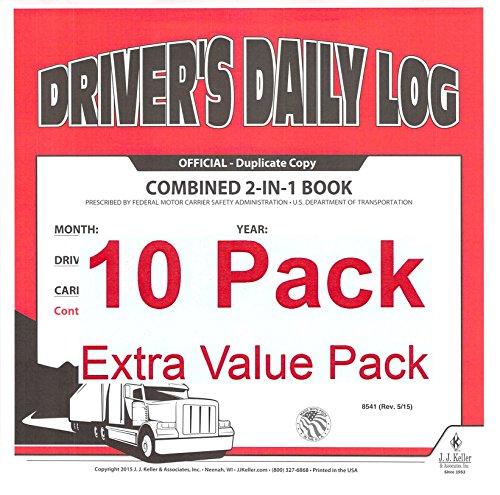 J.J. Keller 8541 (615L) 2-In-1 Driver's Daily Log Book w/Simplified DVIR, No Recap - Pack of 10