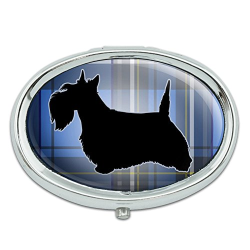 (Scottie Dog on Blue Plaid Scottish Terrier Metal Oval Pill Case Box)