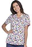 Dickies EDS Signature by Women's V-Neck Floral Print Scrub Top XX-Large Print
