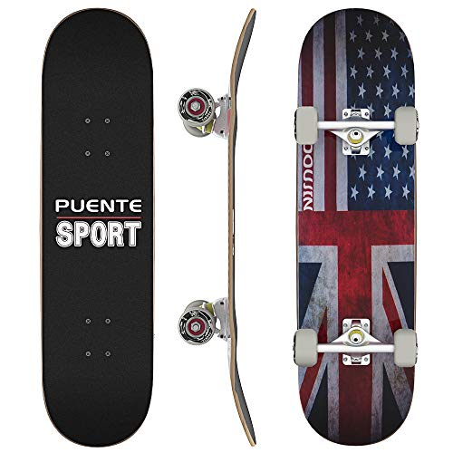 PUENTE Complete Skateboards, 31 inch Pro Skateboard for Boys/Girls/Kids/Youth/Adults, Tricks Skate Board for Beginners & Pro, Double Kick 7 Layer Canadian Maple Wood Concave Skateboard
