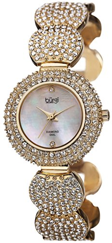 Burgi Women's BUR109YG Crystal-Accented Gold-Tone Bracelet Watch