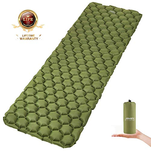CRAZY STONE Inflatable Camping Sleeping Pad - Ultralight Compact Camping Sleeping Mat for Backpacking, Hiking - Comfortable Air Cell Pad with Repair Kit (Green)