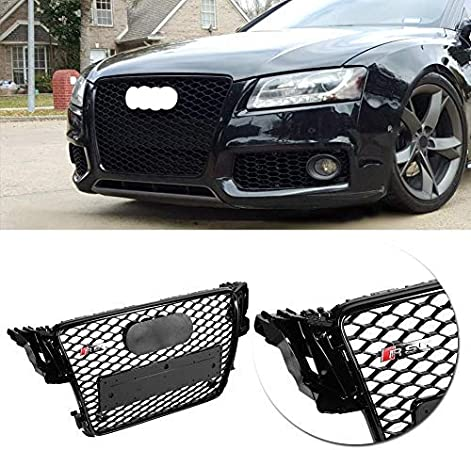 Acouto For RS5 Style Car Front Sport Hex Mesh Honeycomb Hood Grill Gloss for Audi A5//S5 B8 08-12
