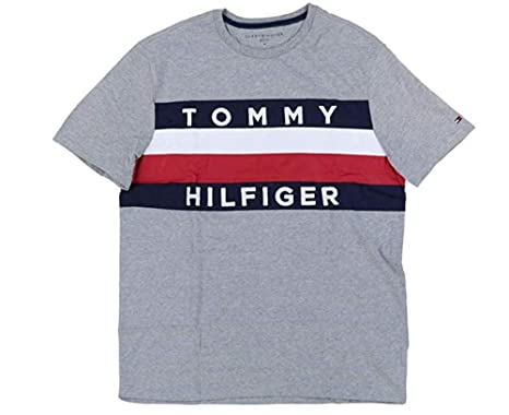 3ecca24b4 Tommy Hilfiger Mens Large Graphic Flag Logo T-Shirt (Small, Grey)